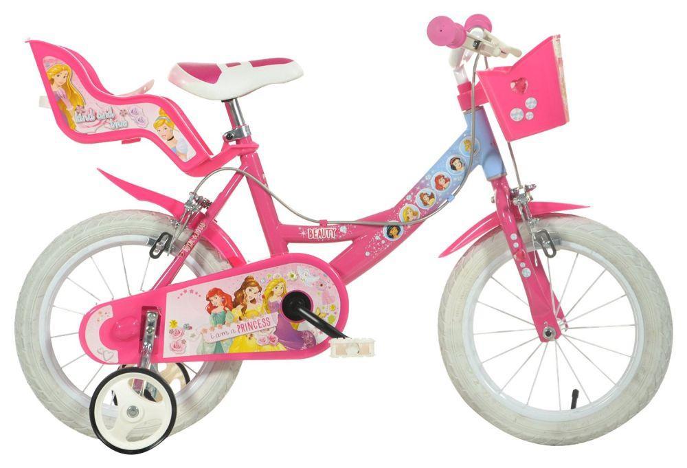 """DINO Bikes Detský bicykel 14"""" Princess so sedačkou pre bábiku a košíkom 144RPSS"""