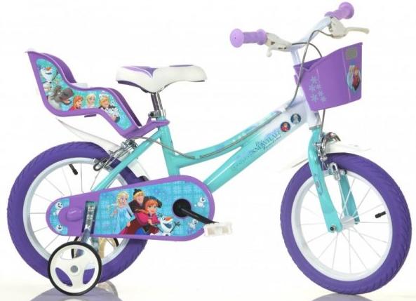 """DINO Bikes Detský bicykel 14"""" Frozen 2 so sedačkou pre bábiku a košíkom 146RFZ"""
