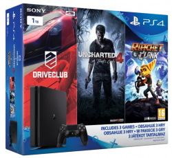 Sony Playstation 4 1TB Slim FAMILY Pack - 3 hry: (Uncharted 4, DriveClub, Ratchet&Clank)
