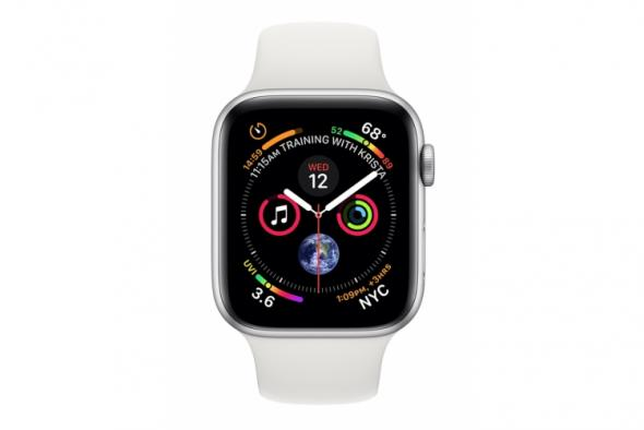 Apple Watch Series 4 GPS, 44mm Silver Aluminium Case with White Sport Band - smart hodinky Apple