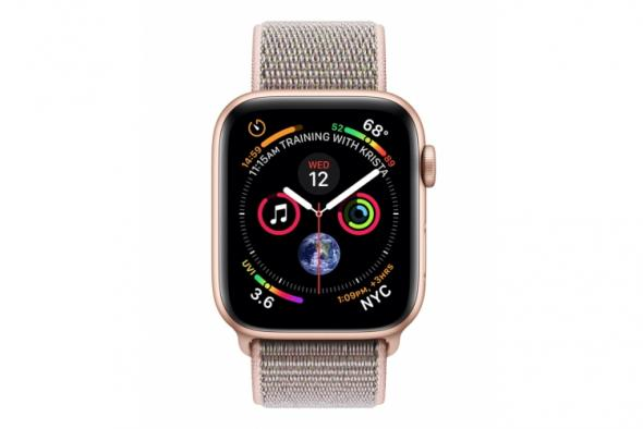 Apple Watch Series 4 GPS, 44mm Gold Aluminium Case with Pink Sand Sport Loop - smart hodinky Apple