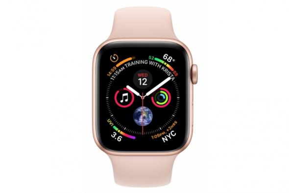 Apple Watch Series 4 GPS, 40mm Gold Aluminium Case with Pink Sand Sport Band - smart hodinky Apple