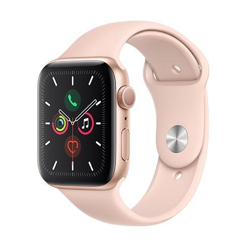Apple Watch Series 5 GPS, 44mm Gold Aluminium Case with Pink Sand Sport Band - S/M & M/L - smart hodinky