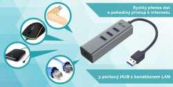 i-Tec Metal USB 3.0 Hub 3-Port + Gigabit Ethernet Adapter