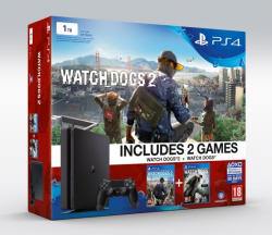 Sony PlayStation 4 1TB Slim + 2hry: Watchdogs a Watchdogs 2