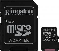 Kingston MicroSDXC 64GB Class 10 UHS-I (r80MB,w10MB)