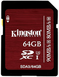 Kingston SDHC 64GB class 10 UHS-I U3 (r90-w80)