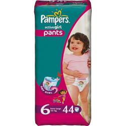 Pampers Active Girl Pants 6 Extra large 16+ kg 44ks