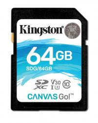 Kingston Canvas Go SDHC 64GB class 10 UHS-I U3 V30 (r90MB,w45MB)