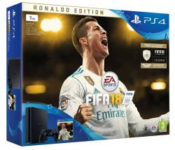 Sony Playstation 4 1TB black + FIFA 18 Ronaldo Edition