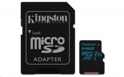 Kingston Canvas Go MicroSDXC 64GB Class U3 UHS-I V30 (r90MB,w45MB)