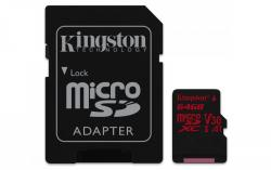 Kingston Canvas React MicroSDXC 64GB Class U3 UHS-I V30 A1 (r100MB,w80MB)