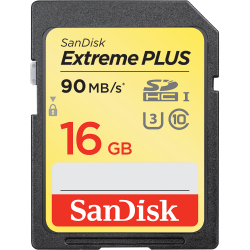 SanDisk Extreme Plus SDHC 16GB Class 10 UHS-I (r90MB,w60MB)