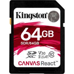 Kingston Canvas React SDXC 64GB class 10 UHS-I U3 V30 A1 (r100MB,w80MB)