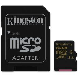 Kingston MicroSD(XC) 64 GB Class 10 ( r90MB/s, w45MB/s )